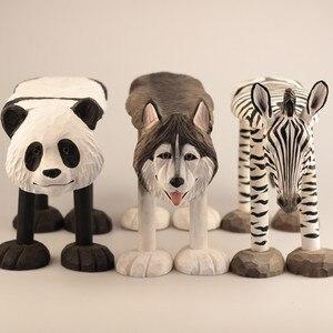 Image 2 - 手彫り木製の装飾品のための動物キリンライオン牛ハスキーゼブラパンダタイガー型スツール子供 1 6 年