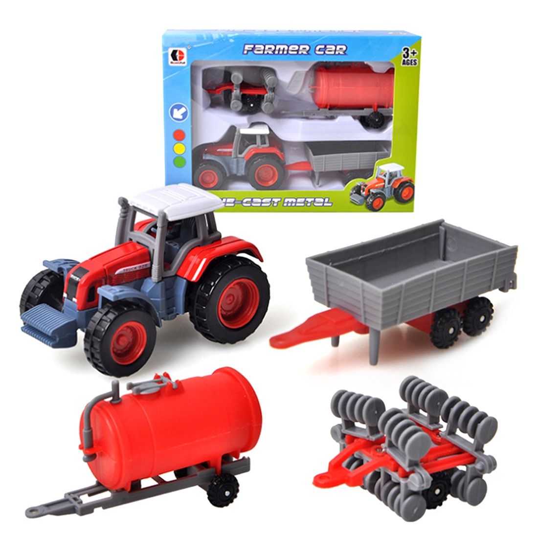 Alloy Engineering <font><b>Car</b></font> Farmers Truck <font><b>Model</b></font> Simulation Educational Toy Vehicle <font><b>Car</b></font> For Kids Three Combination Suits Set - Random image