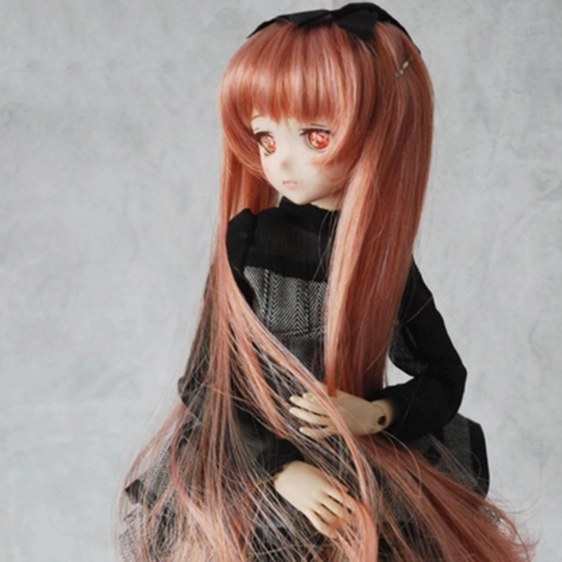 Allaosify bjd hair 1/6 1/4 1/3 1/8 Bjd SD Doll Wig High Temperature Wire Beautiful Long straight BJD Wig free shipping wig for bjd doll 7 8 inch doll accessories high temperature wig 1 4 bjd doll long hairstyle l4 02 1bcolor lovely hair delicate