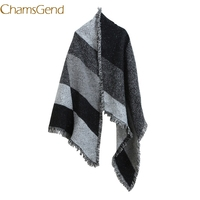 Chamsgend Poncho Newly Design Women Men Winter Warm Wool Cashmere Long Scarf Patchwork Tassels Stole Scarves 70929 Drop Shipping