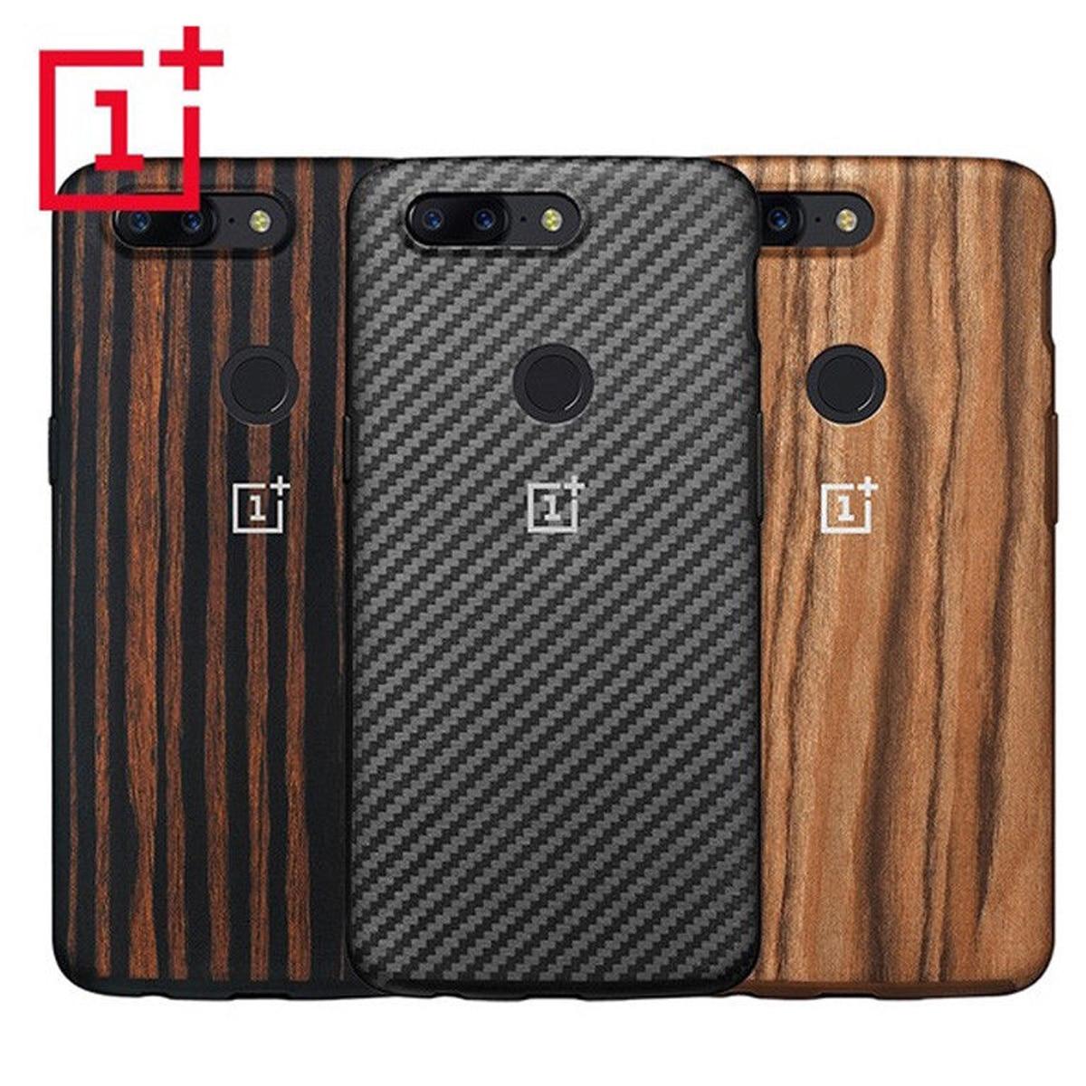 Oneplus 5 T Cas Officiel 100% D'origine Oneplus Mobile Téléphone Sac Retour Shell Fiber De Bois TPU Pleine Couverture Cas pour Un Plus 5 T