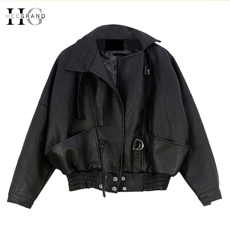 HEEGRAND Loose PU Leather Jackets Women 2018 Spring New Punk Style Jacket Batwing Sleeve Coat Black