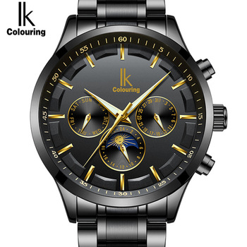 Official IK Brand Skeleton Automatic Watch Men Waterproof Top Mens Mechanical Watches Leather Calendar Relogio Masculino 4462