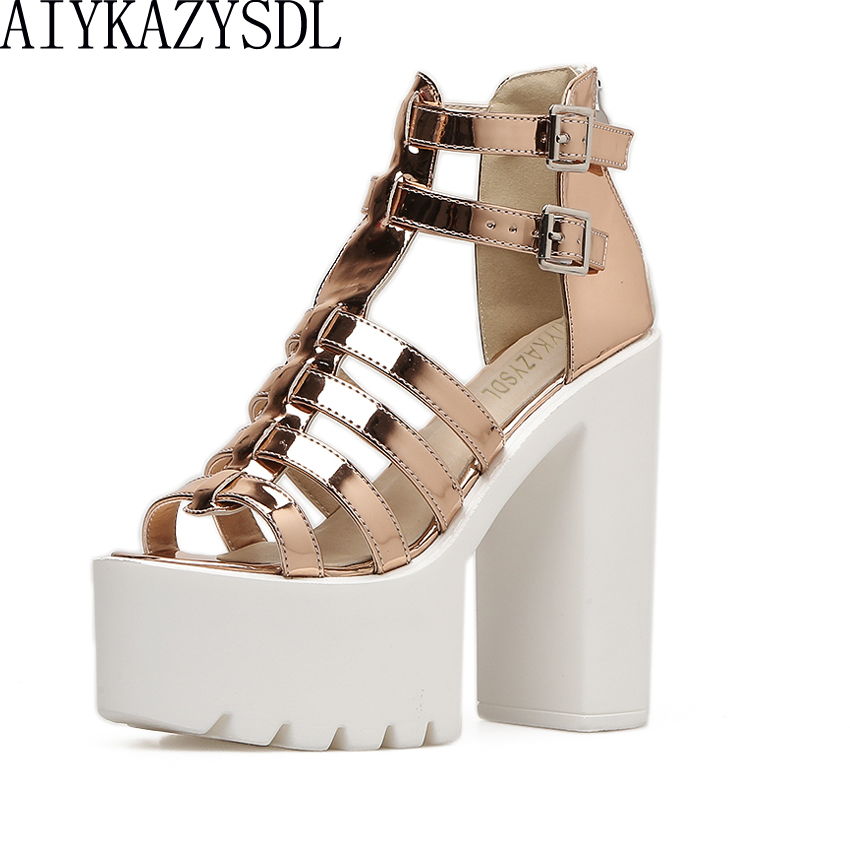 7d02a110b31a AIYKAZYSDL Gladiator Roman Sandals Metallic Faux Leather Strappy Creepers  Ultra Very High Heel Platform Shoes Square Thick Heels-in High Heels from  Shoes on ...