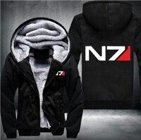 USA size Men Mass Effect N7 Zipper Jacket Sweatshirts Thicken Hoodie Coat Casual sweatshirts men fashion hoodie streetwear