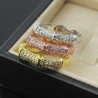 Yüksek Kalite Moda Gül Altın/Sarı Altın/Gümüş Paslanmaz Çelik Kristal Lover için Banboo Ortak Yüzük
