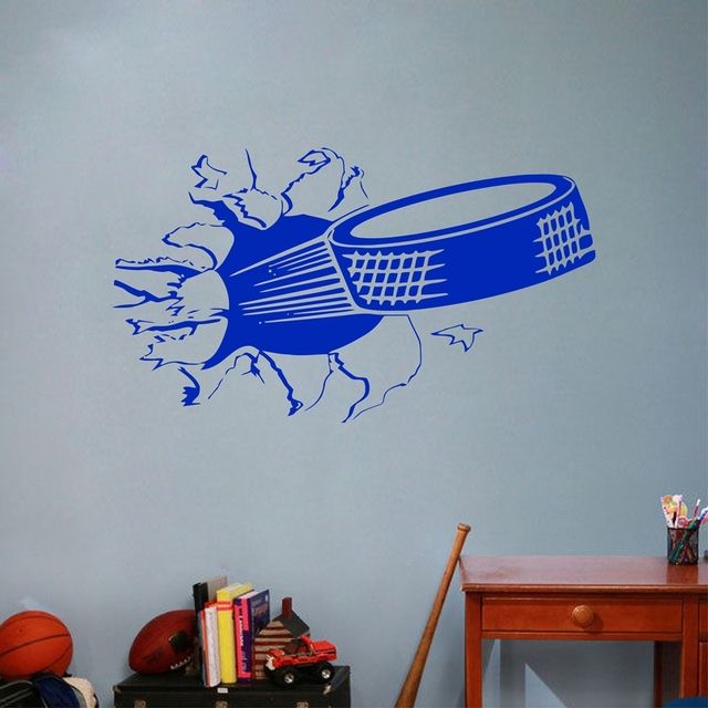 Sports Ice Hockey Wall Art Sticker , Puck Ripping Bursting Through Wall Vinyl Wall Decal