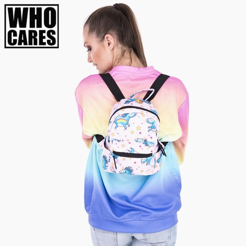 blue unicorn 3D printing mini backpack women mochila masculina who cares canvas backpacks For Teenagers Girls mochilas sac a dos