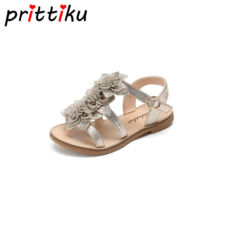 Summer 2018 Toddler Girl Leather Flower Silver Gold Sandals Little Kid Open Toe Flats Big Children Fashion Princess Dress Shoes ems dhl free shipping toddler little girl s 2017 princess ruffles layers sleeveless lace dress summer style suspender