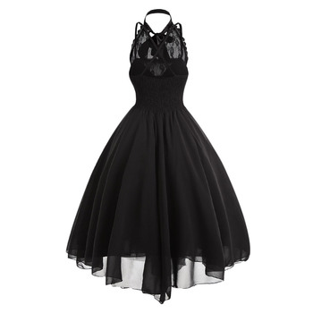 Gamiss 2017 Gothic Bow Party Dress Women Vintage Black Sleeveless Cross Back Lace Panel Corset Swing Dress Robe Vestidos Femme 1