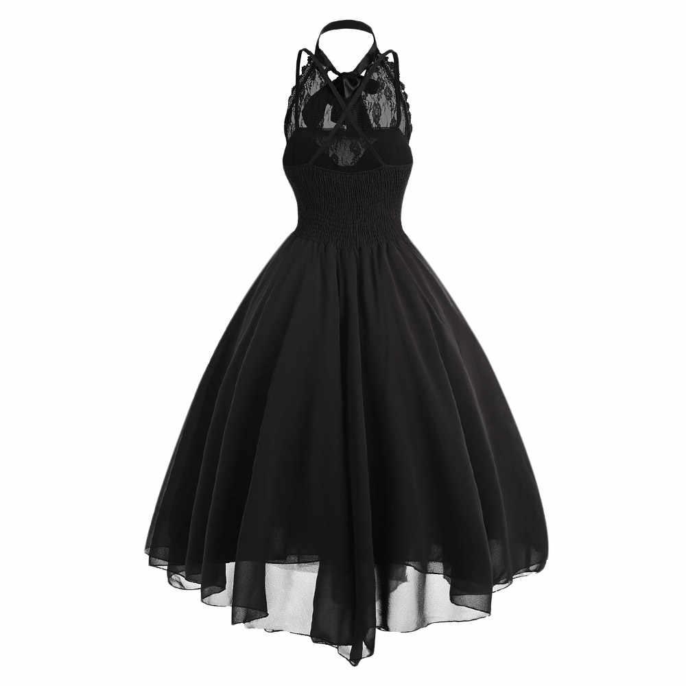 Wipalo 2019 в готическом стиле с бантом; вечерние платье Для женщин Винтаж черное платье без рукавов с принтом крест-накрест кружева Панель корсет качели платье vestidos Femme