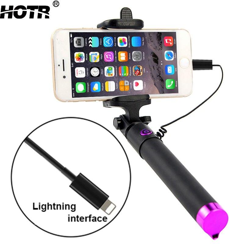 Pour iphone X Selfie Bâton Palo Selfie Filaire Contrôle pour iphone 8 7 7 plus 6 6 s plus 5S 4S Rainurés Pau de Selfie extensible