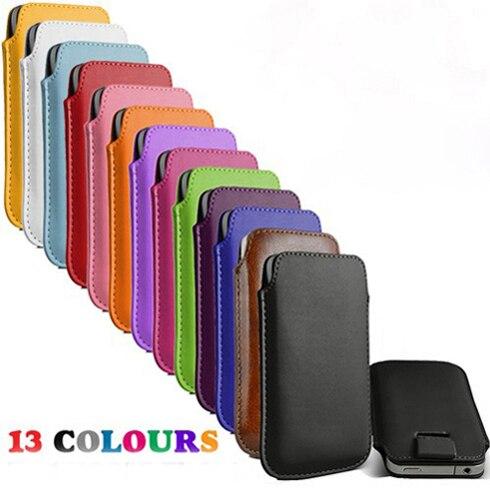 13 colores pull up cuerda delgada de la pu funda de piel bolsas móvil casos para