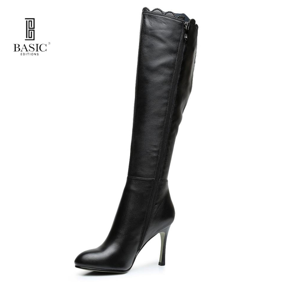 BASIC EDITIONS High-end brands shoes woman Genuine Suede High Heel Fashion Knee-High Boots 1205-1620 basic editions women dark grey suede leather spike high heel chain accessories winter long boots 1105 1422 aj91