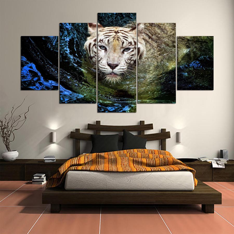 framed art for kids rooms promotion shop for promotional framed wall canvas art print frame 5 panel animal tiger painting poster wall modular picture for home decoration painting kids room