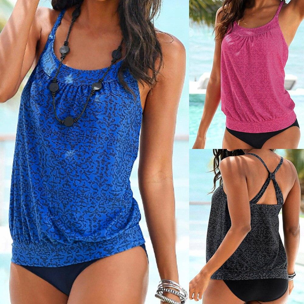 bikini 2018 Women Plus Size Printed Tankini Bikini Swimwear Swimsuit two-piece suits swimsuit girls sexy bikini set #15
