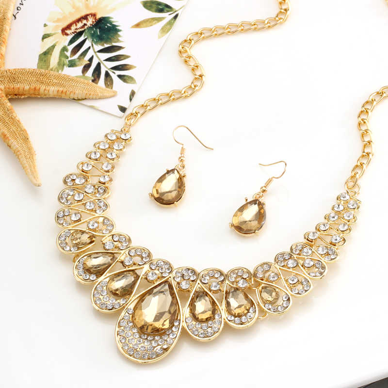 gold color water drop pendant necklace collares wedding bridal jewelry sets champagne rhinestone drop earrings set