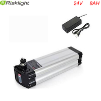New arrival silver fish 24v e bike battery 24 volt 8ah lithium battery pack with charger and bms