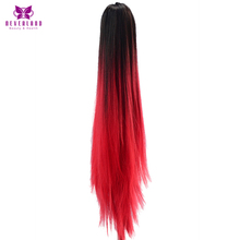 Neverland Multicolor 20″ Long Straight Synthetic Hair Extensions Two Tone Ombre Claw On Ponytails Hair Tail for Womens Party