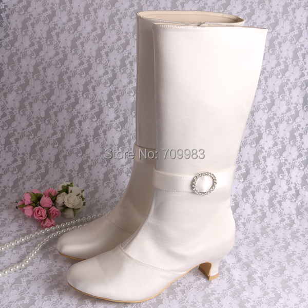 Magic Bride Long Winter Wedding Bridal Boots For Ivory Satin With Side Zipper 5CM Heel