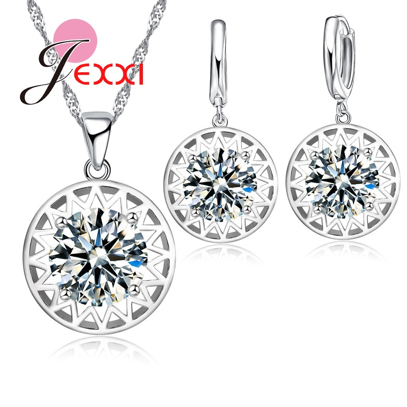 F Fjexxi Beautiful Hollow Sun Pendant Women Girls Fashion 925