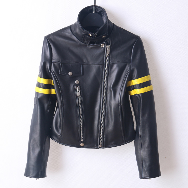 Nouveauté femmes moto & vestes de motards Chic en cuir geniune manteau court Mode en peau de mouton vestes en cuir manteaux femmes D919
