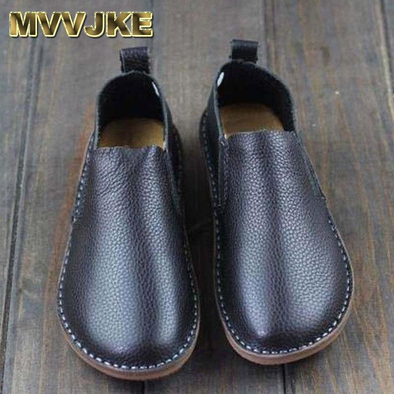 MVVJKE chaussures pour femmes en cuir véritable femmes chaussures plates bout rond sans lacet mocassins chaussures noir et blanc printemps chaussures