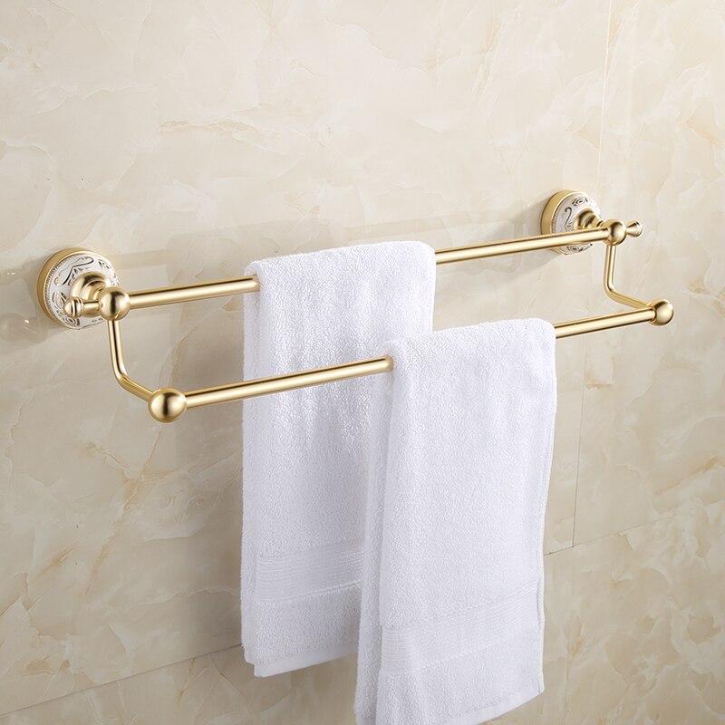 Mounted Gold Towel Bars Bathroom Double Towel Rod Bathroom