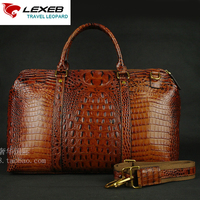 LEXEB Elegant Brown Alligator Patent Leather Laptop Travel Duffle Bag For Men 17 Inch Overnight Weekender Bags Carry On Luggage