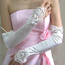 Gloves Women Elbow Length Long Fingerless Woman  Lace Appliqued Beaded Pattern Gift