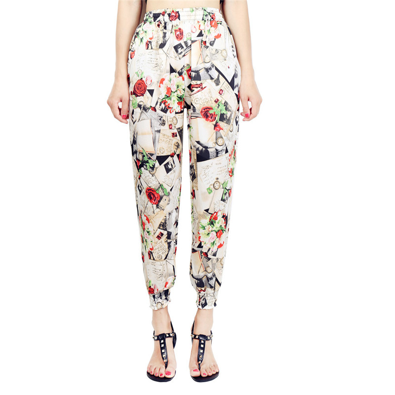 Loose Harem Pant High Waist Show Thin Printed Women's Wear Casual Ankle-Length Trousers Pockets 19
