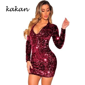 Kakan 2020 spring new women's sequin dress  slim sequin dress sexy nightclub club party dress 4