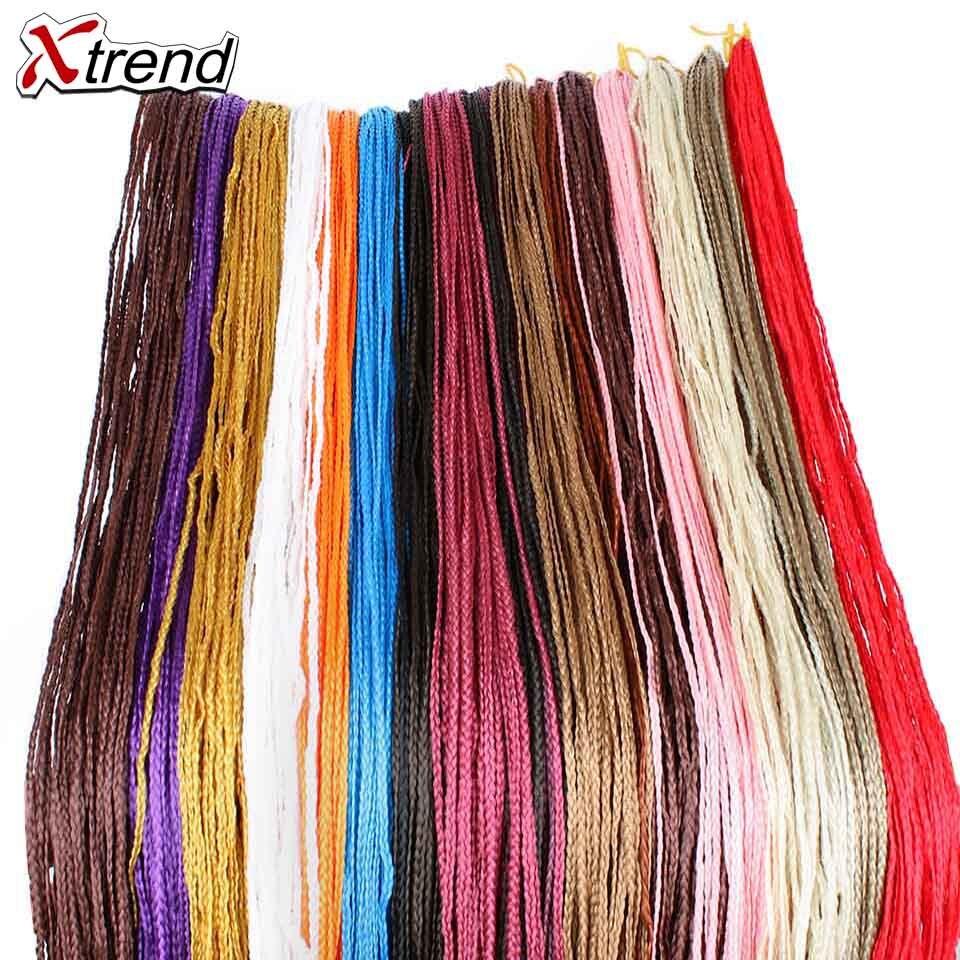 Box Braids Contemplative Xtrend Synthetic Zizi Crochet Braids Hair 28 Strands Pure Black Pink Purple Box Braids Pink Hair Extension High Temperature