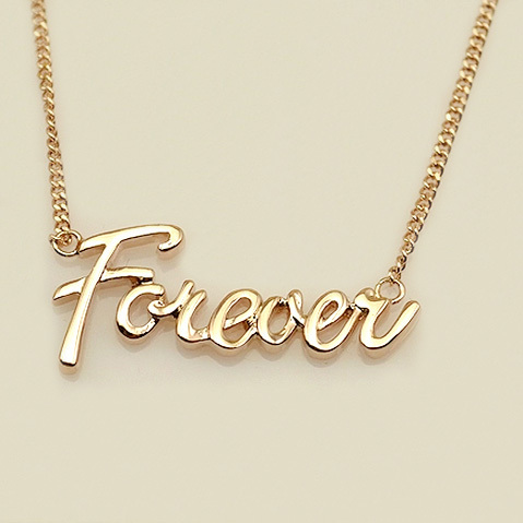 Ustar Love Forever Word Pendant Gold Color Chain Pendants Necklace For Women Wedding Party Jewelry In Pendant Necklaces From Jewelry Accessories On
