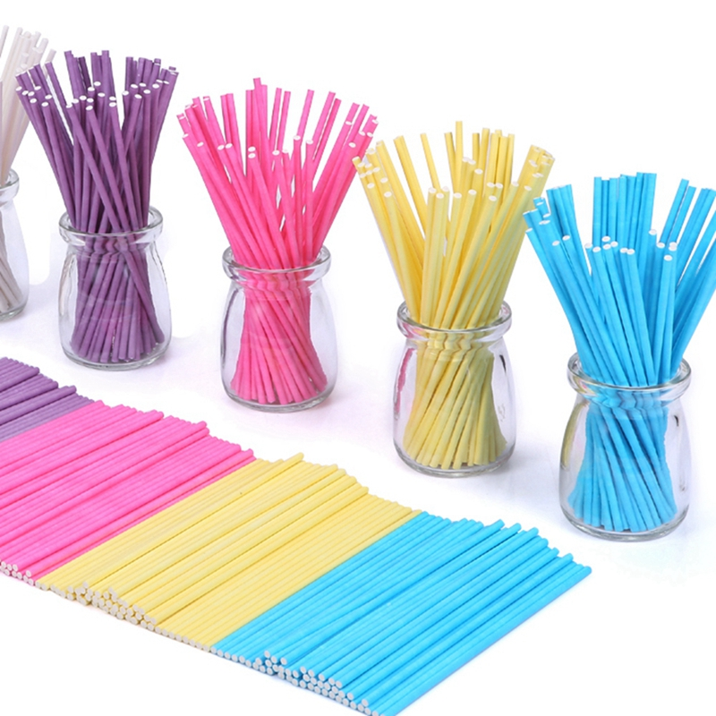 100pcs colorful lollipop stick 15cm paper cake pop sticks for Decoration sticks