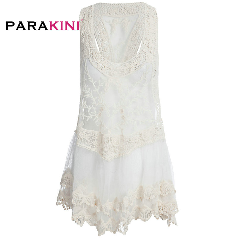 5ea22679c93 Aliexpress.com : Buy PARAKINI 2018 Women Tunic Cover Ups Sexy Strap Sheer  Floral Lace Beach Dress Embroidered Crochet V neck Mini White Beachwear  from ...