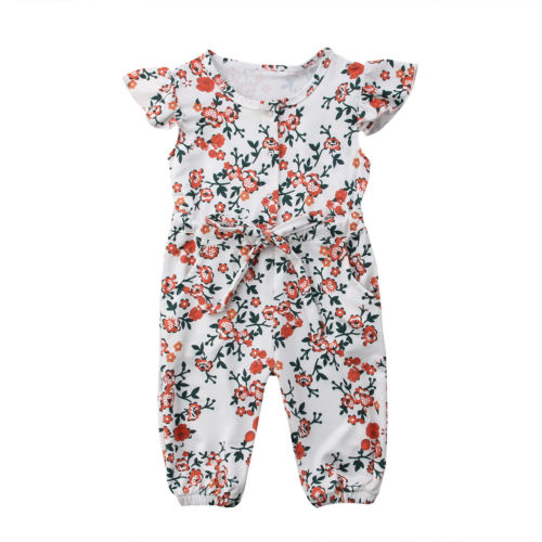 Newborn Toddle Baby Kids Girls Infant Romper Jumpsuit Sunsuit Floral Sleeveless Cotton Casual Clothes Baby Girl 0-18M