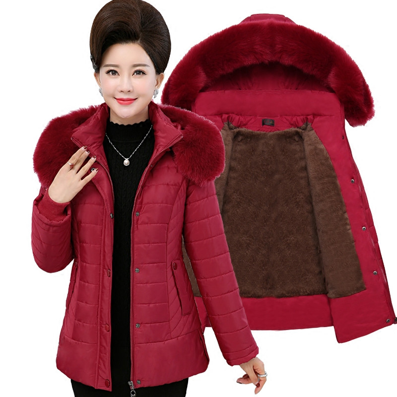 Winter   parkas   women cotton jacket Flocking Thicken warm cotton coat middle aged female Plus size 5XL Big fur collar Hooded tops