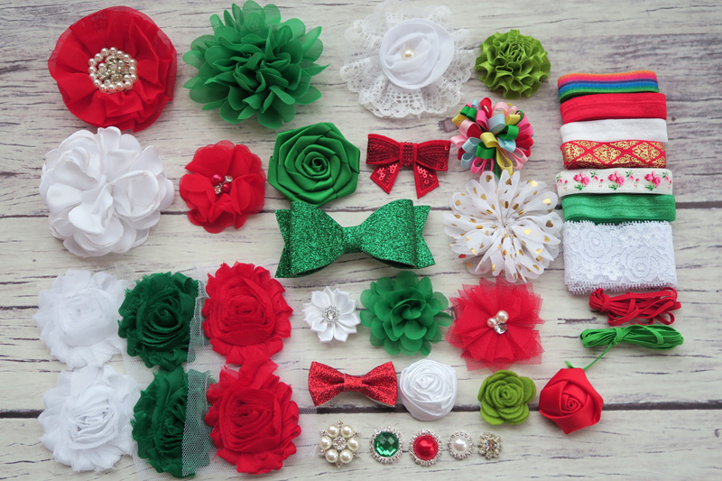 Deluxe DIY accessories kits set , Shower Headband,CLIPS shabby flowers Rose hair bow Trim ,Birthday /christmas day gift S36