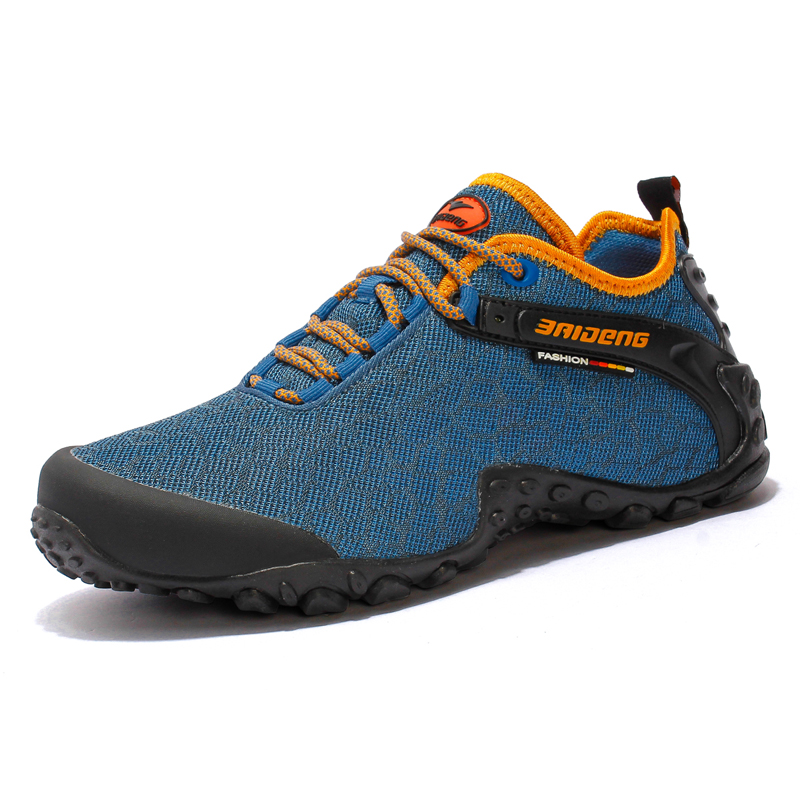 New 2017 Men Hiking Shoes Outdoor Brand Sneakers Cross country Breathable Sport shoes walking Mountain Climbing shoes Blue grey sale outdoor sport boots hiking shoes for men brand mens the walking boot climbing botas breathable lace up medium b m