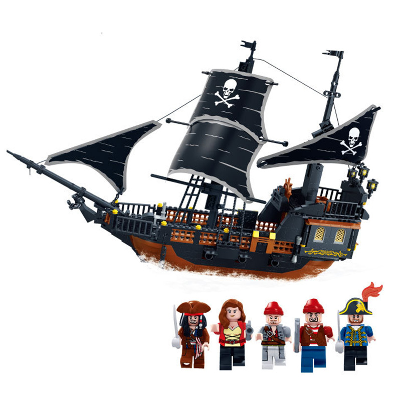 KAZI Pirates Ship Building Blocks Sets Black Pearl DIY Model 652pcs Bricks Christmas Gifts Toys For Children Birthday kazi building blocks k87011 608pcs pirates black pearl model building kits model toy bricks toys hobbies blocks