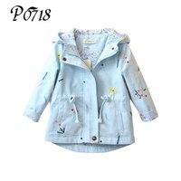 2018 New Spring Autumn Girls Windbreaker Coat Baby Kids Flower Embroidery Hooded Outwear Toddler Children Pink