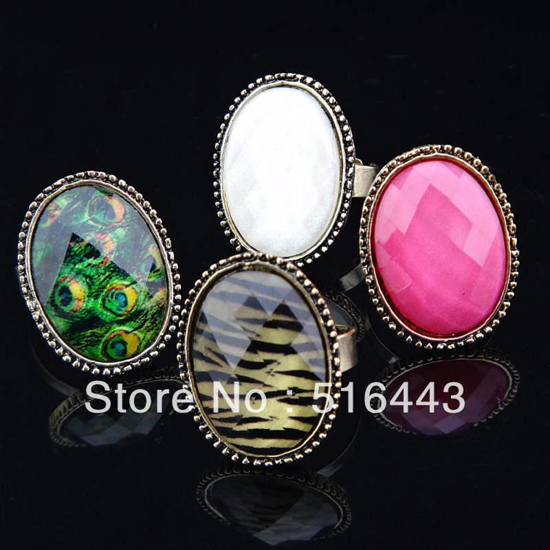New Arrival 12pcs Wholesale Vintage Jewelry Copper Antique Gold P Acrylic Oval Pink Rings for Women Mens Free Shipping A906-909