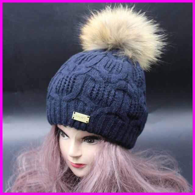 2016 New Fashion Winter Sport Wool Beanie Female Hats 100% Real Raccoon Fur Hat For Women