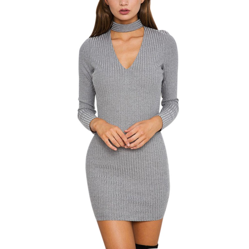 2017 autumn winter fashion women knitted dress elegant ...