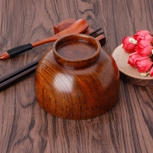 Natural Wooden Rice Soup Bowl Food Container Kitchen Utensil Tableware