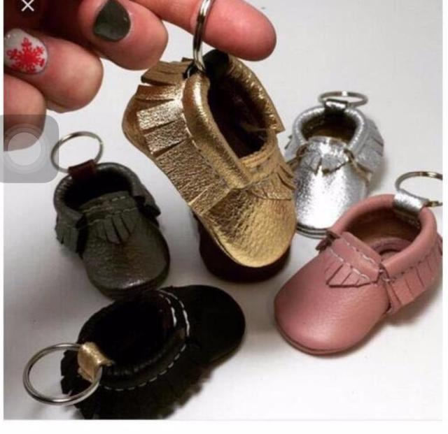 New style christmas gift for bebe Genuine Leather tassel keychain Baby Moccasins Baby Girls Boys infant prewalker soft sole shoe