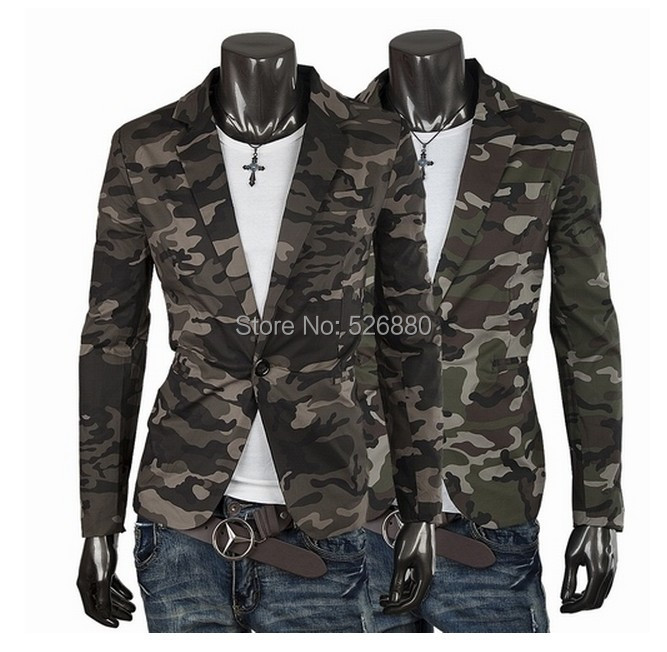 Blazer Men Fashion Casual Mens Cotton Short Slim Army Camouflage Jacket Coat Lapel Man Suit Brand Costume Homme