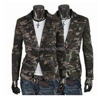 Homens Blazer moda Casual Mens Cotton curto fino camuflagem do exército revestimento do revestimento de lapela homem Suit marca Homme traje