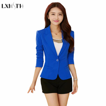 2018 Black Yellow Blue Formal Female blazer Jackets short blasers mujer Women's slim long sleeve woman suit coat Jacket Lady